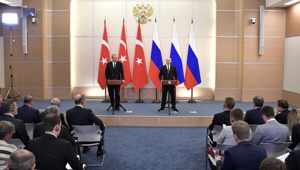 Президент РФ Владимир Путин и президент Турции Реджеп Тайип Эрдоган во время совместной пресс-конференции по итогам встречи в Сочи. 3 мая 2017