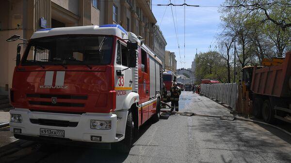 Пожарные расчеты МЧС РФ в центре Москвы