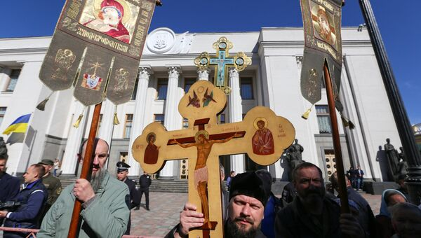 Акция прихожан Украинской православной церкви Московского патриархата. Архивное фото