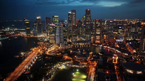 Вид на башни Сити и Raffles Place