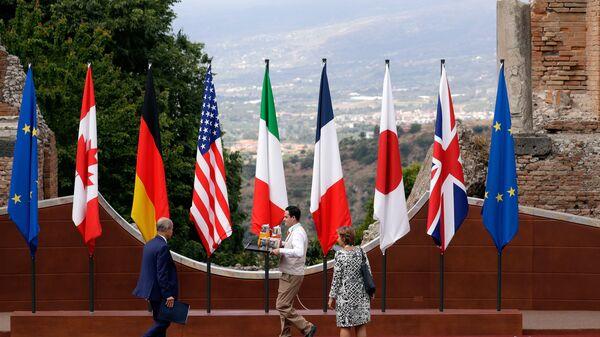 Флаги Евросоюза и стран G7