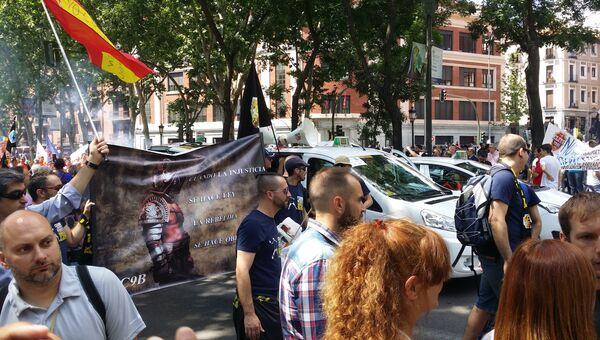 Митинг таксистов в Испании.