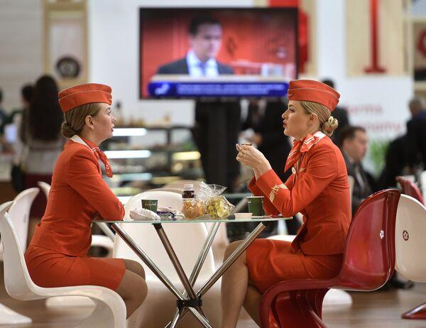 Представители Аэрофлота на Санкт-Петербургском международном экономическом форуме 2017 в Экспофоруме