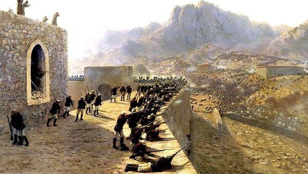 Картина Льва Лагорио Отбитие штурма крепости Баязет 8 июня 1877 года. Архивное фото