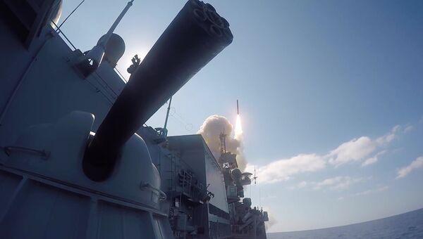 Удар Калибров по объектам ИГ* (группировка Исламское государство, запрещена в РФ) в Сирии.