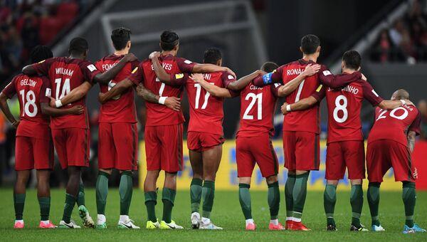 Игроки сборной Португалии в матче против сборной Чили. 28 июня 2017