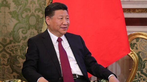 Председатель Китайской Народной Республики Си Цзиньпин во время встречи с Владимиром Путиным. 4 июля 2017