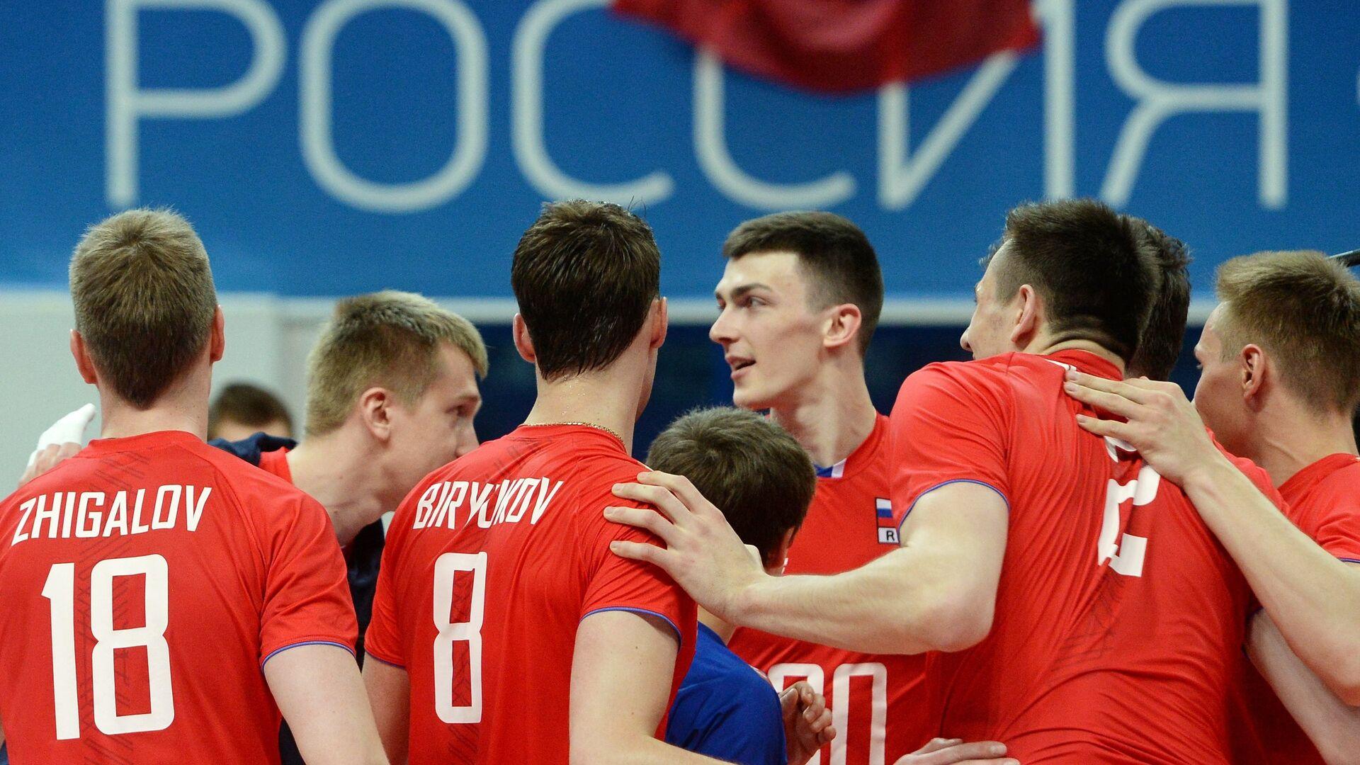 Игроки сборной России радуются победе в матче мировой лиги - РИА Новости, 1920, 15.05.2021