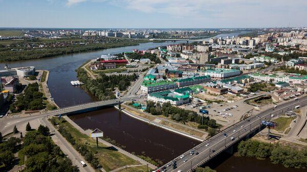 Слияние рек Омь и Иртыш в Омске