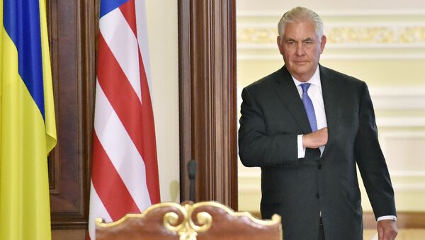 Госсекретарь США Рекс Тиллерсон на совместной пресс-конференции с президентом Украины по итогам их встречи в Киеве. 9 июля 2017