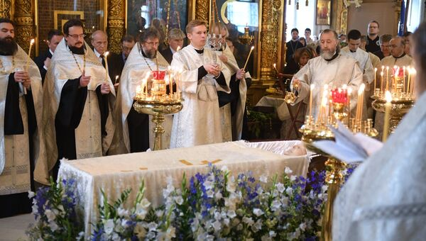 Отпевание художника Ильи Глазунова в Елоховском соборе