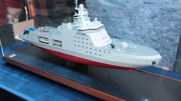 Макет патрульного корабля арктического класса проекта 23550. Архивное фото