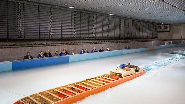 Модельные испытания ледокола проекта 10510 Лидер в ледовом бассейне Крыловского научного центра
