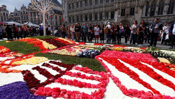 Ковер из сотен тысяч живых цветов выложен на центральной площади Брюсселя — Гран Пляс