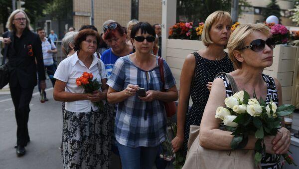 На церемонии прощания с актрисой Верой Глаголевой в Центральном доме кино в Москве. 19 августа 2017