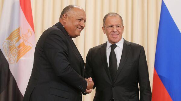 Министр иностранных дел РФ Сергей Лавров и министр иностранных дел Египта Самех Шукри