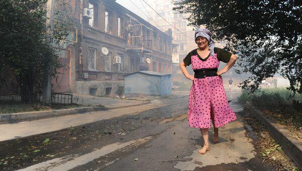 Пожар в Ростове-на-Дону в районе Театрального спуска. Август 2017