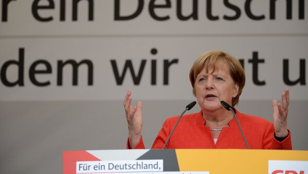 Канцлер Германии Ангела Меркель во время предвыборной встречи с избирателями в Мюнстере. 22 августа 2017