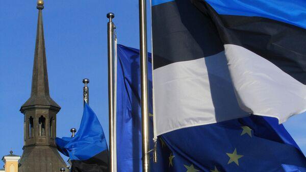 Флаги Эстонии и ЕС в Таллине. Архивное фото