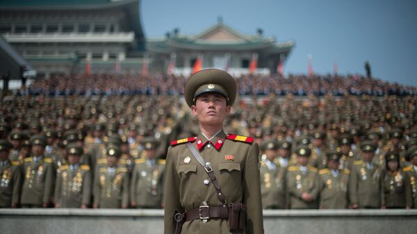 Военнослужащий во время военного парада, приуроченного к 105-й годовщине со дня рождения основателя северокорейского государства Ким Ир Сена, в Пхеньяне