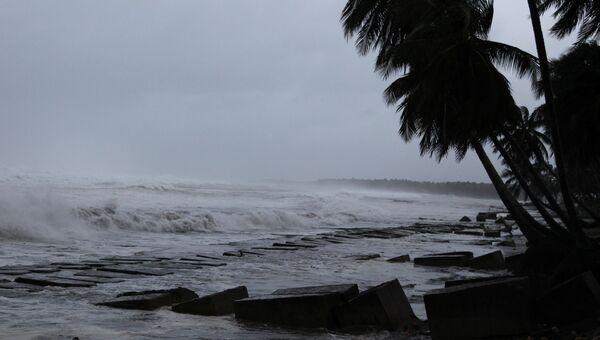 Шторм у северного побережья Доминиканской Республики, вызванный ураганом Ирма. 7 сентября 2017