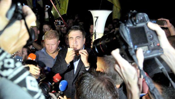 Михаил Саакашвили у пункта пропуска Шегени на украинско-польской границе. 10 сентября 2017