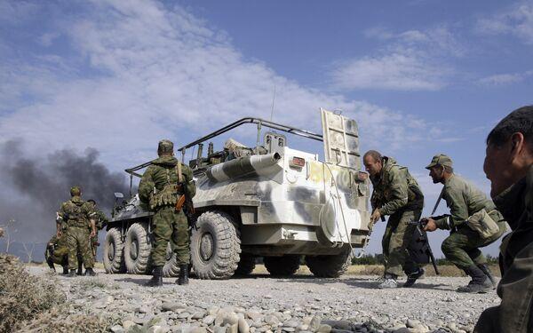 Солдаты чеченского спецподразделения Восток в зоне Грузино-Абхазского конфликта