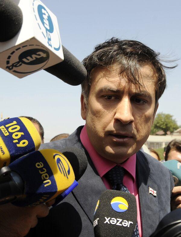 Михаил Саакашвили на встрече с журналистами в Тбилиси