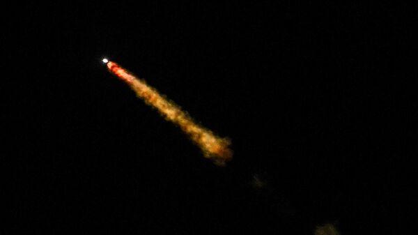Старт ракеты-носителя Протон-М с пусковой площадки космодрома Байконур