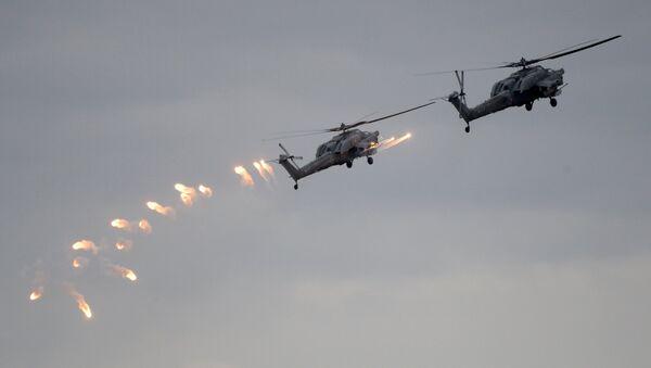 Вертолеты Ка-52 ВКС России во время учений Запад-2017