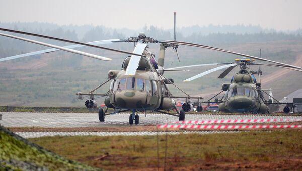 Вертолеты Ми-8 на полигоне в Минской области во время совместных стратегических учений вооруженных сил Республики Белоруссия и Российской Федерации Запад-2017. 20 сентября 2017