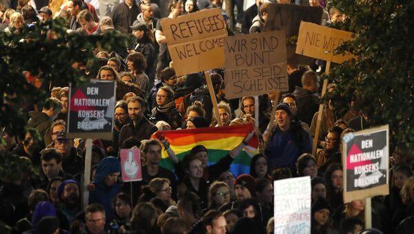 Демонстрации в Берлине против вхождения в бундестаг правой партии Альтернатива для Германии. 24 сентября 2017