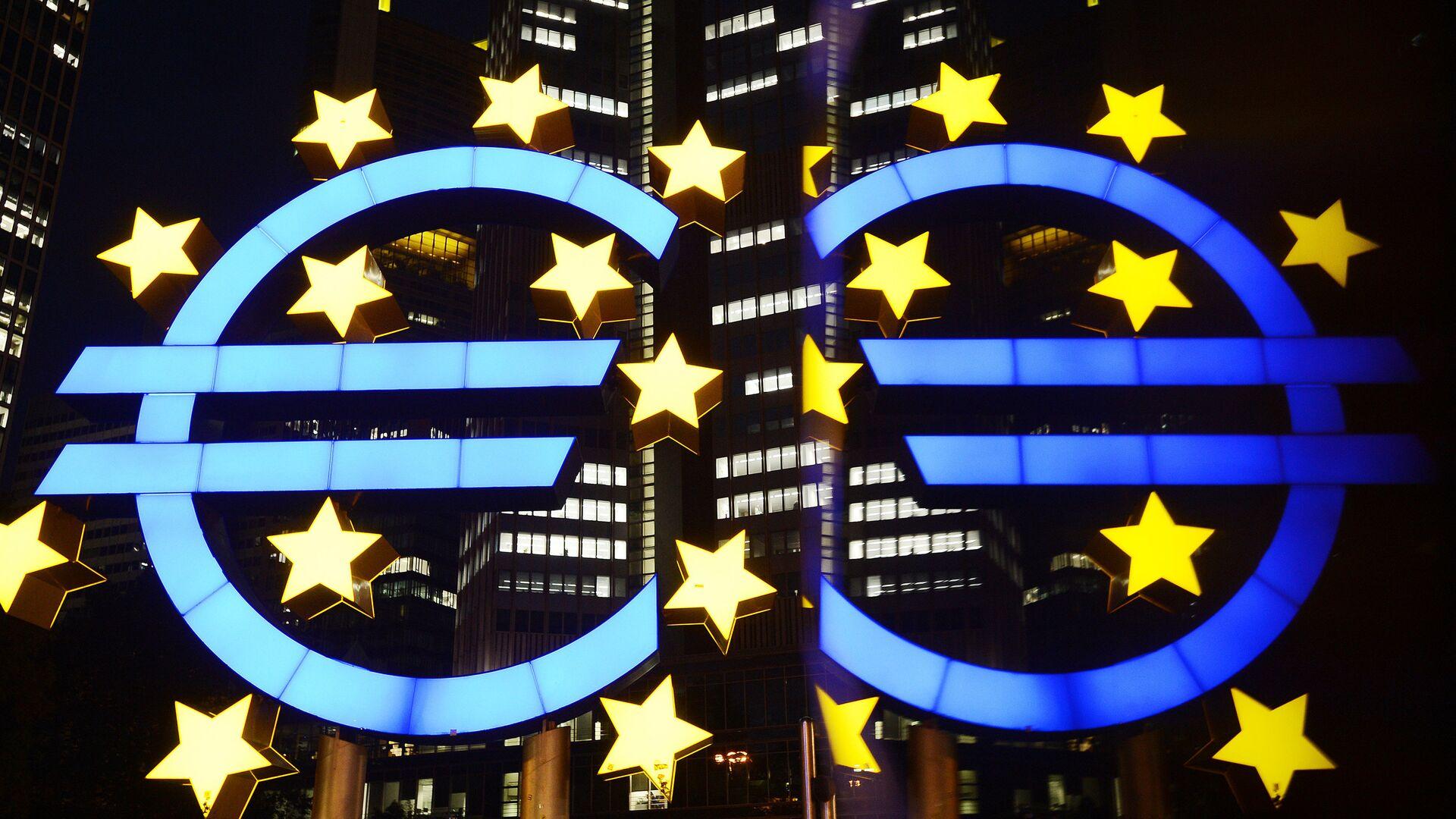 Логотип Центрального европейского банка во Франкфурте - РИА Новости, 1920, 13.08.2021