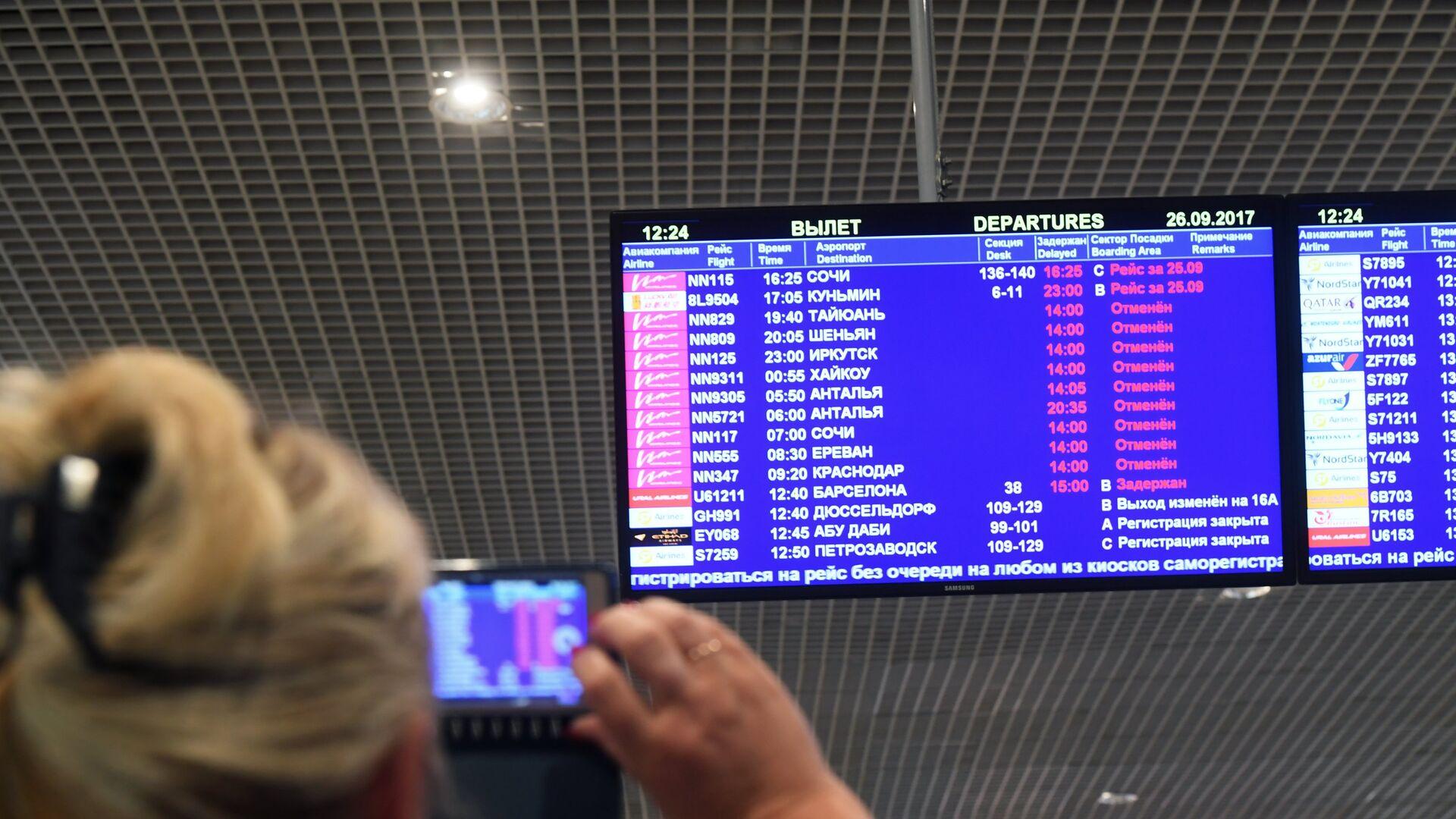 Регистрационное табло в аэропорту Домодедово, где произошла отмена рейсов одной из авиакомпаний - РИА Новости, 1920, 19.02.2021