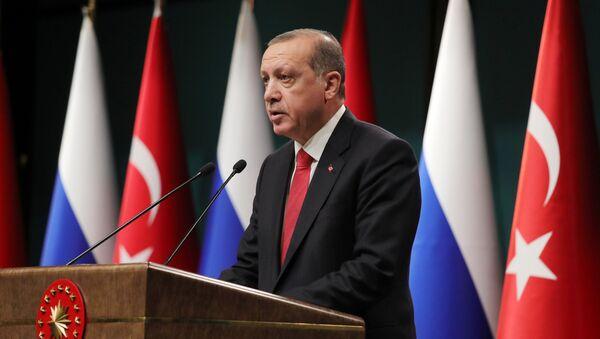 Президент Турции Реджеп Тайип Эрдоган на пресс-конференции по итогам переговоров с президентом РФ Владимиром Путиным в президентском дворце в Анкаре. 28 сентября 2017