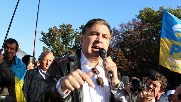 Экс-губернатор Одесской области и бывший президент Грузии Михаил Саакашвили на митинге в Одессе. 30 сентября 2017