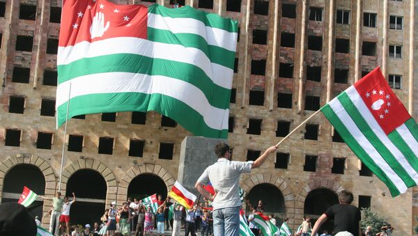 Народные гуляния по случаю признания Россией независимости Абхазии. Август 2008 года