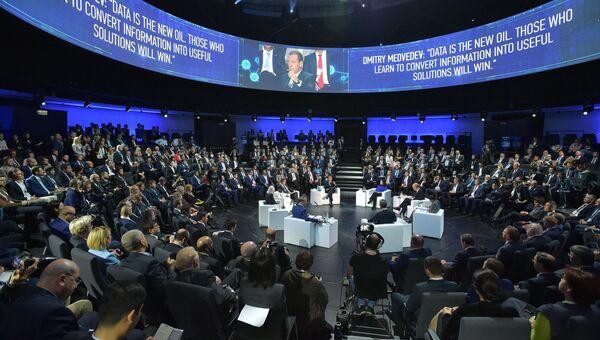 Дмитрий Медведев на пленарное заседании VI Московского международного форума «Открытые инновации». 17 октября 2017