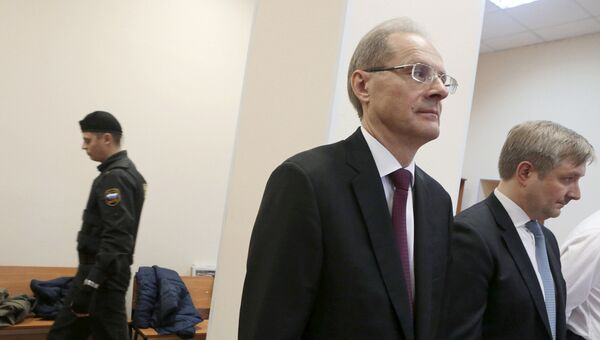 Бывший губернатор Новосибирской области Василий Юрченко в Центральном районном суде Новосибирска во время оглашения приговора