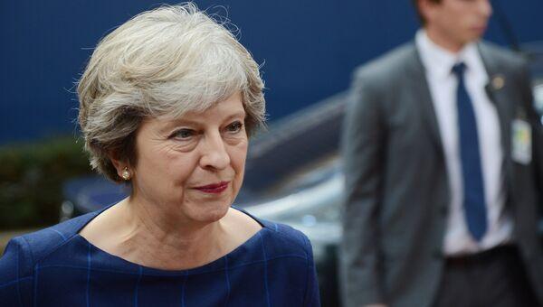 Премьер-министр Великобритании Тереза Мэй перед началом заседания Совета Европы в Брюсселе. 19 октября 2017