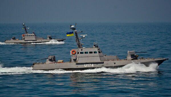 Речные бронекатера Бердянск и Аккерман во время ходовых испытаний в отрытом море