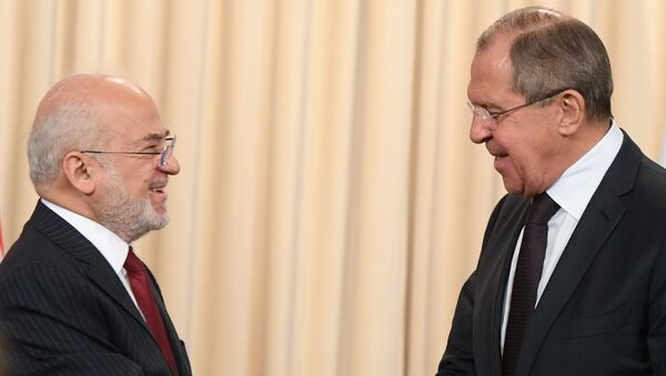 Министр иностранных дел Республики Ирак Ибрагим аль-Джаафари и министр иностранных дел РФ Сергей Лавров во время встречи в Москве. 23 октября 2017
