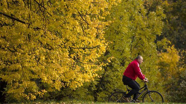 Мужчина на велосипеде в парке Коломенское в Москве