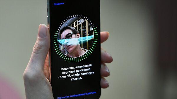 Настройка Face ID на новом смартфоне iPhone X от компании Apple