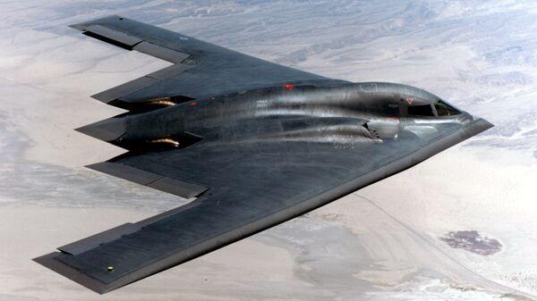 Американский тяжёлый малозаметный стратегический бомбардировщик Northrop B-2 Spirit. Архивное фото.