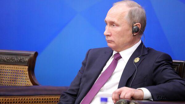 Президент РФ Владимир Путин на встрече лидеров экономик форума АТЭС с членами Делового консультативного совета саммита лидеров стран АТЭС во Вьетнаме. 10 ноября 2017