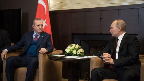 Президент России Владимир Путин и президент Турции Реджеп Тайип Эрдоган во время встречи. 13 ноября 2017