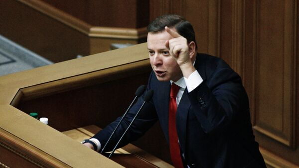 Лидер Радикальной партии Олег Ляшко на заседании Верховной рады. Архивное фото