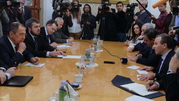 Министр иностранных дел РФ Сергей Лавров и министр иностранных дел Ливана Джебран Басиль во время переговоров в Москве. 17 ноября 2017