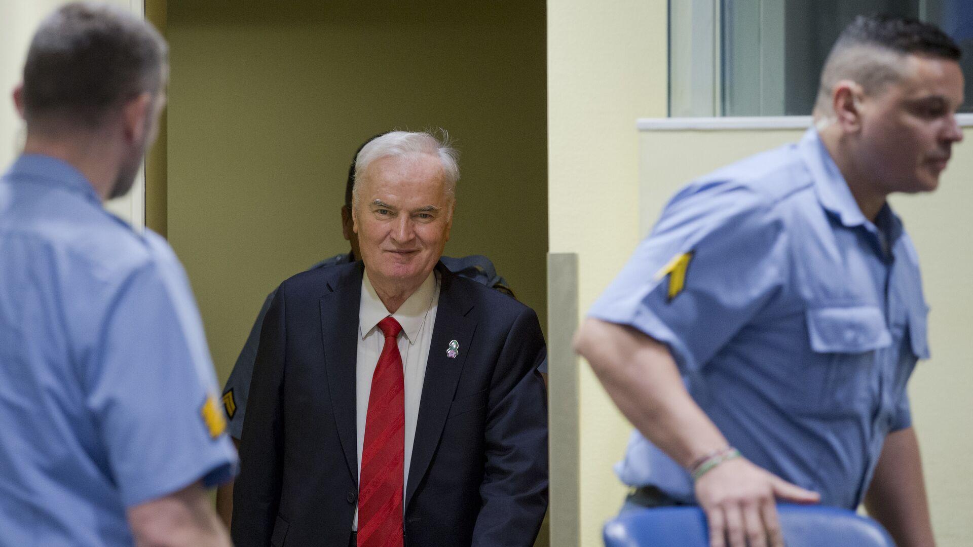 Сербский генерал Ратко Младич в Международном трибунале по бывшей Югославии (МТБЮ). 22 ноября 2017 - РИА Новости, 1920, 08.06.2021
